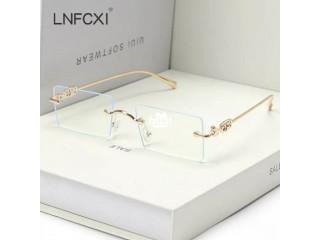 Fashion Rimless Sunglasses Vintage Rectangle Ocean Lens Eyewear Retro