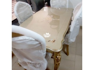 Set of dining table with six chairs