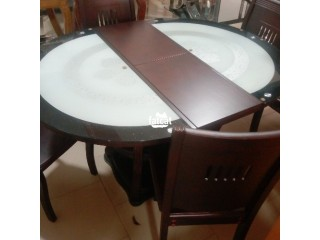 Set of glass and wooden dining table
