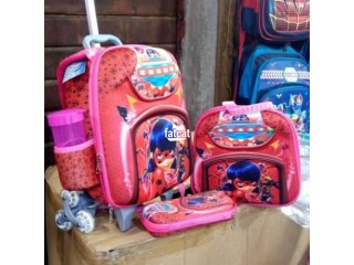 Quality and strong kids trolley school bag and lunch box