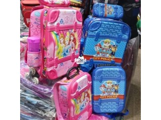 Quality and strong children trolley school bag and lunch box