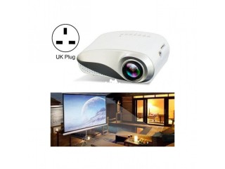 1080P HD Mini LED Projector For Home Multimedia Cinema, Support AV / TV / VGA / USB / HDMI / SD, UK Plug(White)