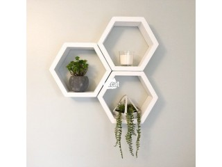 Hexagonal Shaped Floating Shelves (3 pieces set) White in Abuja for Sale