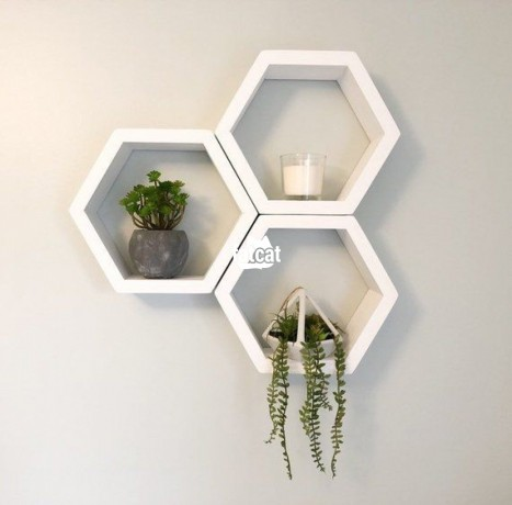 Classified Ads In Nigeria, Best Post Free Ads - hexagonal-shaped-floating-shelves-3-pieces-set-white-in-abuja-fct-for-sale-big-0
