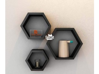 Hexagonal Shaped Floating Shelves (3 Pieces Set) Black, in Abuja for Sale