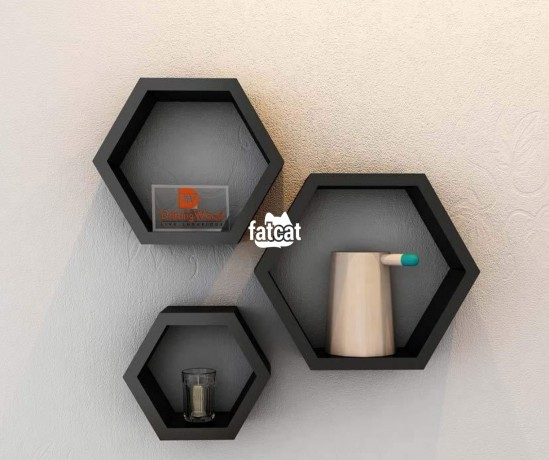 Classified Ads In Nigeria, Best Post Free Ads - hexagonal-shaped-floating-shelves-3-pieces-set-black-in-abuja-for-sale-big-0